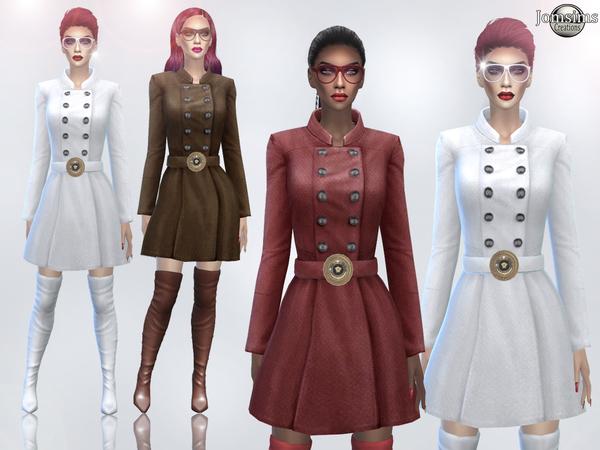 Sims 4 Kenza coat dress by jomsims at TSR