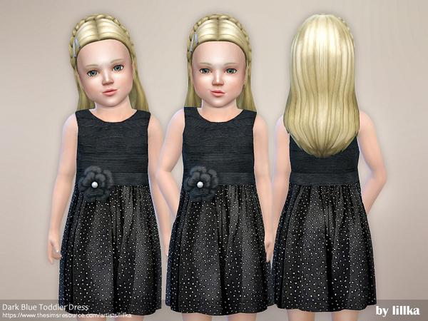Sims 4 Dark Blue Toddler Dress by lillka at TSR