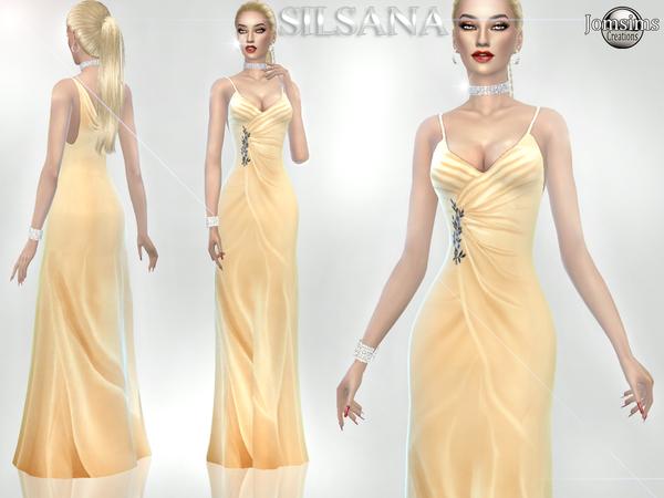 Sims 4 Silsana dress by jomsims at TSR