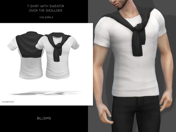 Sims 4 T shirt With Over The Shoulder Sweater by Bill Sims at TSR