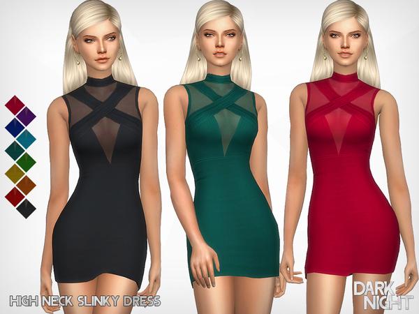 Sims 4 High Neck Slinky Dress by DarkNighTt at TSR