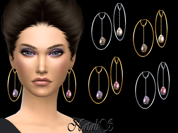 Sims 4 Baroque pearl hoop earrings by NataliS at TSR