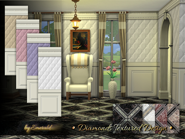 Diamonds Textured Design panels by emerald at TSR image 3510 Sims 4 Updates