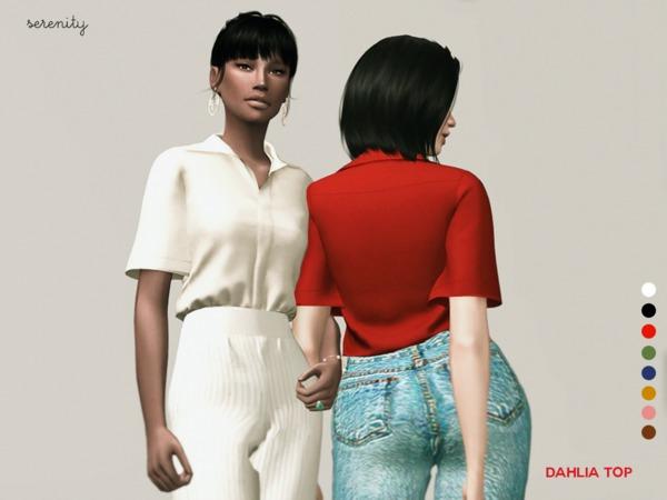 Sims 4 Dahlia Top by serenity cc at TSR