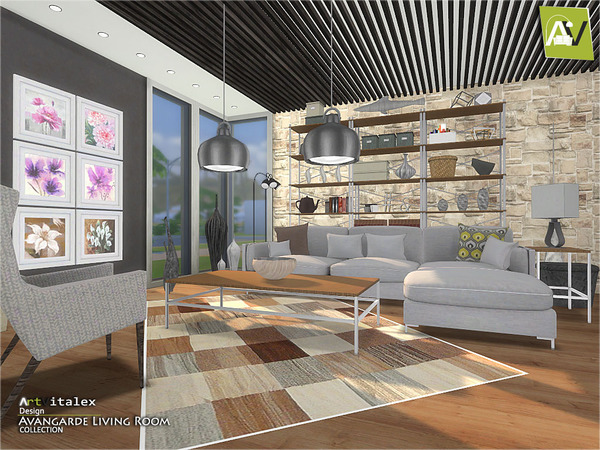 Avangarde Living Room by ArtVitalex at TSR image 36 Sims 4 Updates
