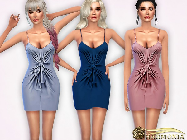 Sims 4 Knot Interested Wrap Dress by Harmonia at TSR