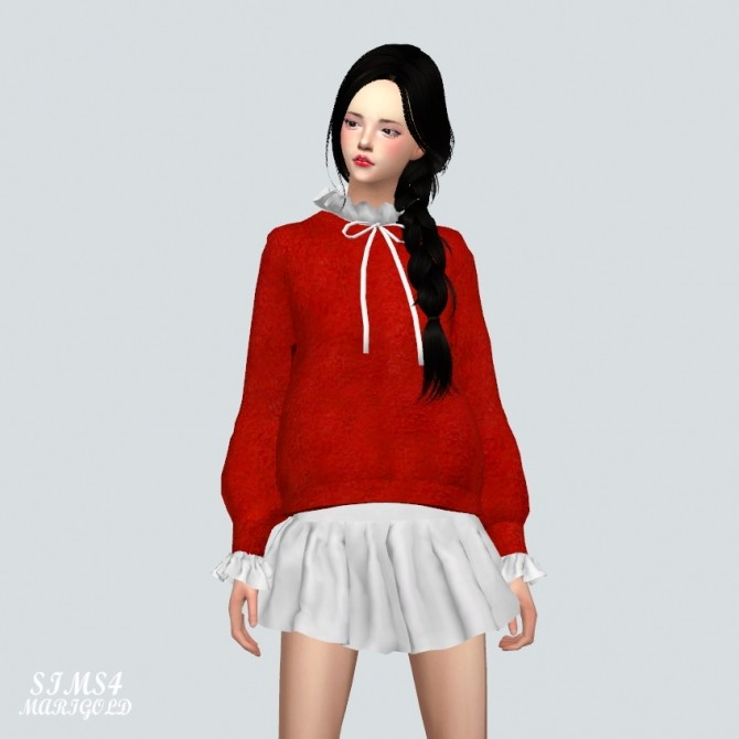 Sims 4 Frill Sweater With Neck Frill at Marigold