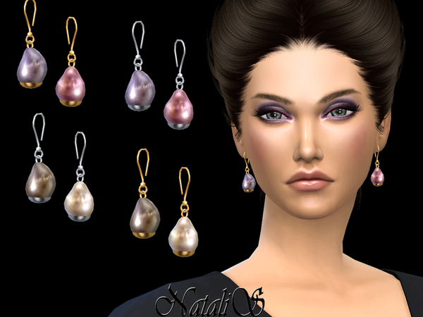 Baroque pearl drop earrings by NataliS at TSR image 3814 Sims 4 Updates