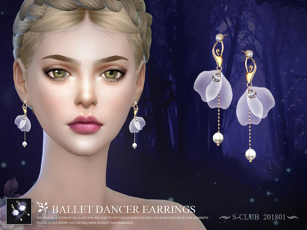 Ballet dancer earrings 201801 by S Club LL at TSR image 3820 Sims 4 Updates