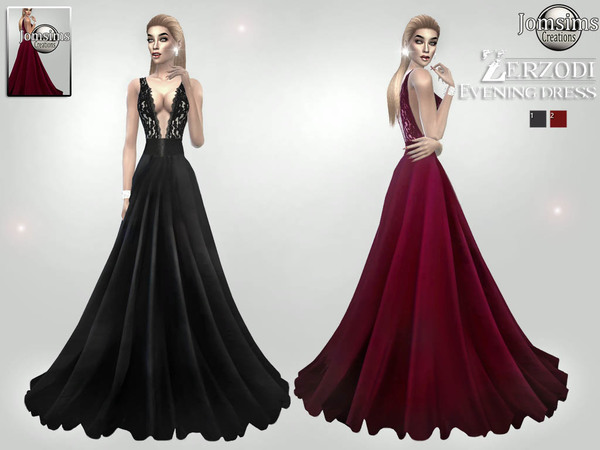 Sims 4 Zerzodi Evening dress by jomsims at TSR