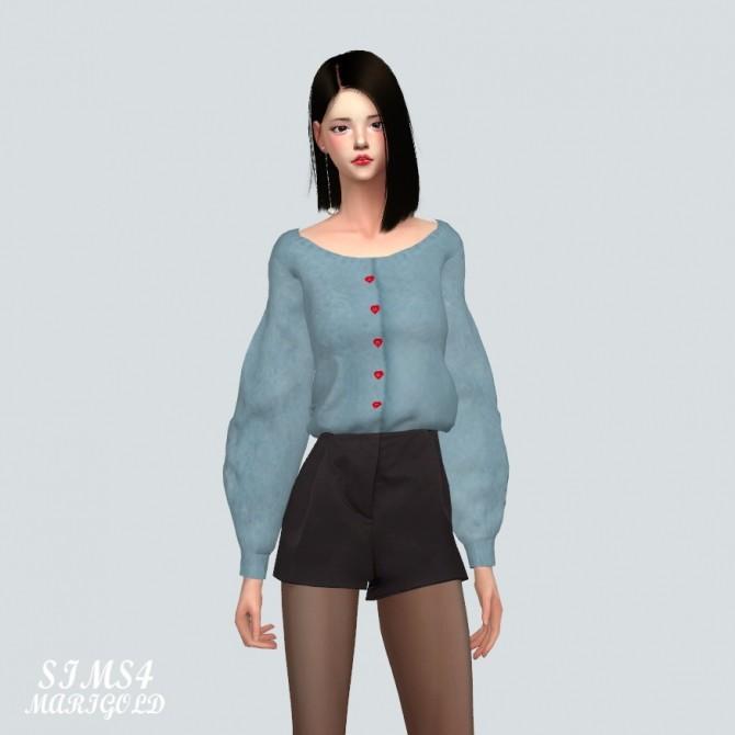 Sims 4 Puff Sleeves Cardigan at Marigold