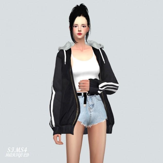 Sims 4 Hood Windbreaker With Crop Top at Marigold