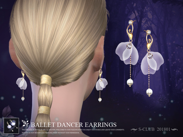 Ballet dancer earrings 201801 by S Club LL at TSR image 3922 Sims 4 Updates