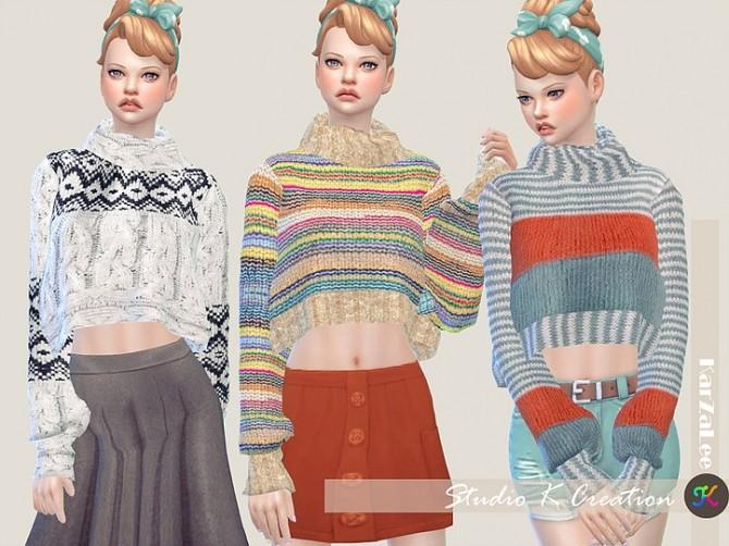 Sims 4 Secret Pink high neck sweater top at Studio K Creation