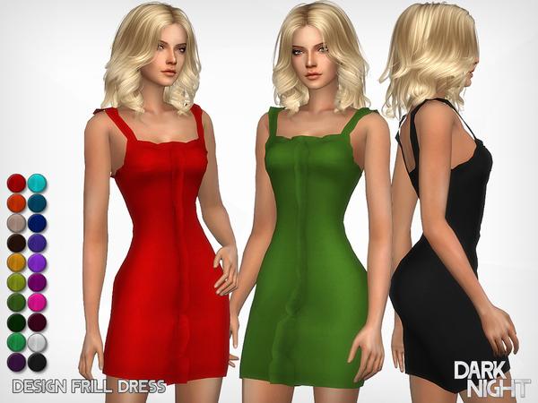 Sims 4 Design Frill Dress by DarkNighTt at TSR