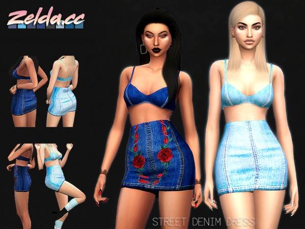 Sims 4 Street Denim Dress by Zelda cc at TSR