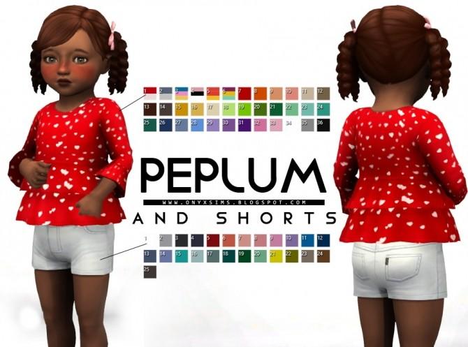 Sims 4 Peplum Top and Short Denim at Onyx Sims
