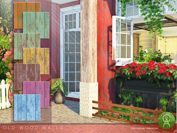 Sims 4 Old Wood Walls by Pralinesims at TSR