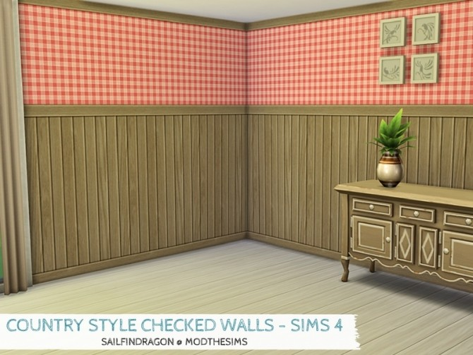 Sims 4 Country Style Checked Walls by sailfindragon at Mod The Sims