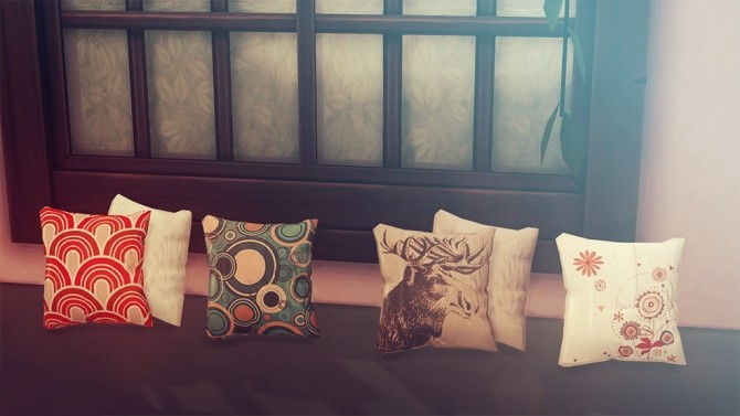 Sims 4 WROEF Vintage Record Player, Record Sleeves and Vintage Pillows at Josie Simblr