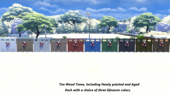 Sims 4 Beach Privacy Fence Unlocked and Recolored by Snowhaze at Mod The Sims