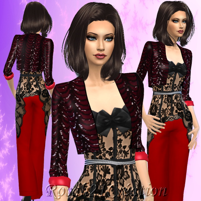 Sims 4 Party one night outfit by Rosah at Sims Dentelle