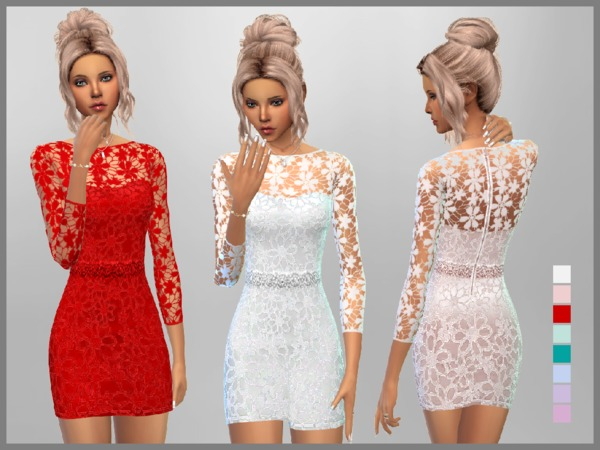 Sims 4 Short Lace Dress by SweetDreamsZzzzz at TSR