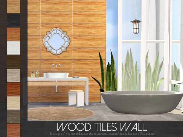 Sims 4 Wood Tiles Wall by Rirann at TSR