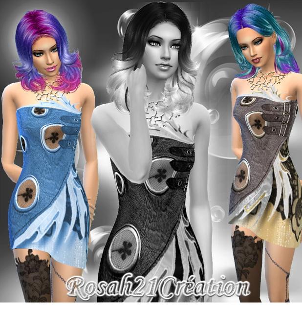 Sims 4 Punk chic dress by Rosah at Sims Dentelle