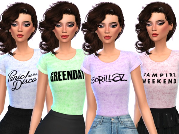 Band Tee Shirts Pack Six by Wicked Kittie at TSR image 573 Sims 4 Updates