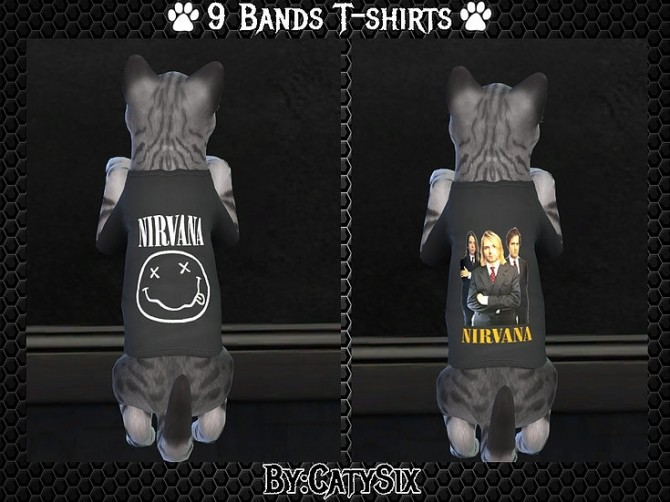 Bands T shirts for Cats at CatySix image 579 670x502 Sims 4 Updates