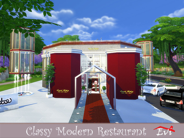 Sims 4 Classy Modern Restaurant by evi at TSR