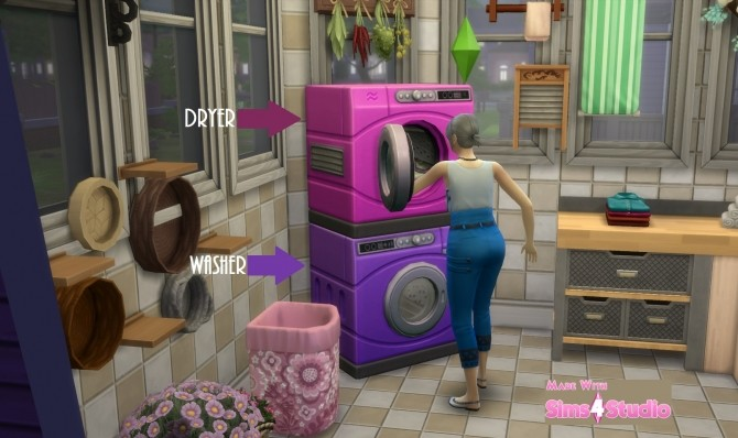 Sims 4 Washer Dryer SET Fushia Pink and Violet Purple by wendy35pearly at Mod The Sims
