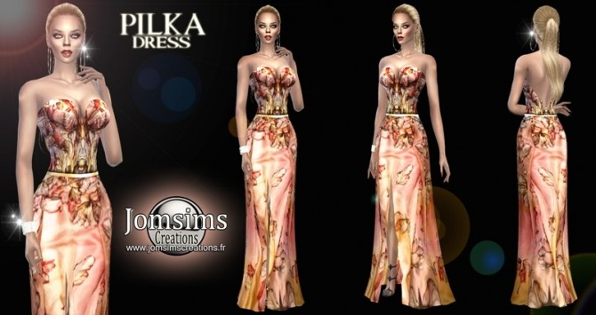 Sims 4 Pilka dress at Jomsims Creations