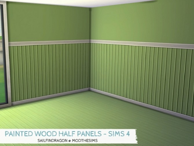 Sims 4 Painted Wood Half Panel Walls by sailfindragon at Mod The Sims