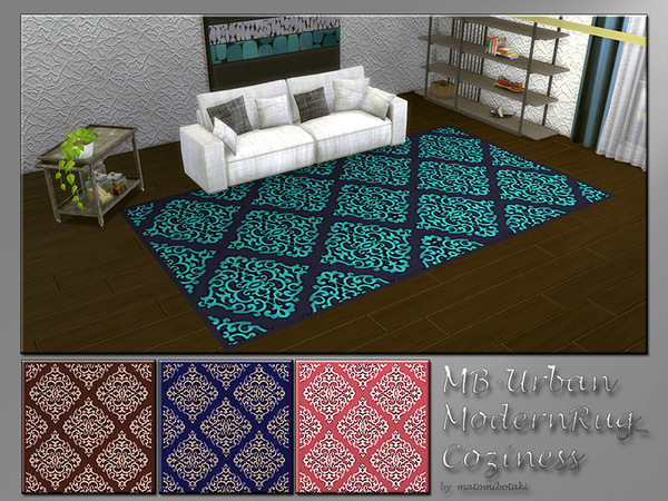 Sims 4 MB Urban Modern Rug Cozyness by matomibotaki at TSR