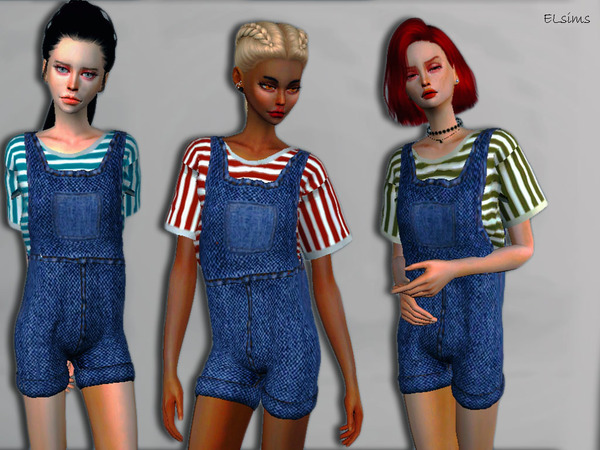 Sims 4 Accord Denim Stripes Jumpsuit by Elegant Lily at TSR