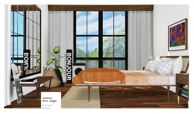 Sims 4 HM   GN bedroom set at MXIMS