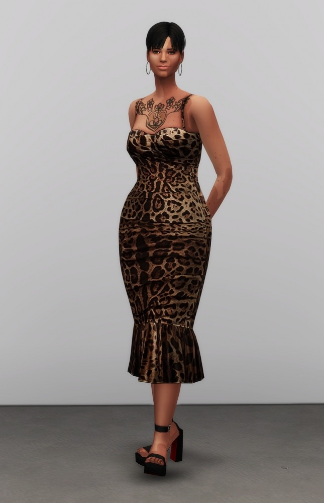Leopard Print Mid Dress At Rusty Nail 187 Sims 4 Updates
