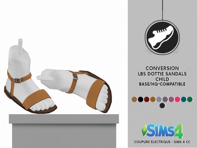 Sims 4 CHILD LBS DOTTIE SANDALS by Thiago Mitchell at REDHEADSIMS