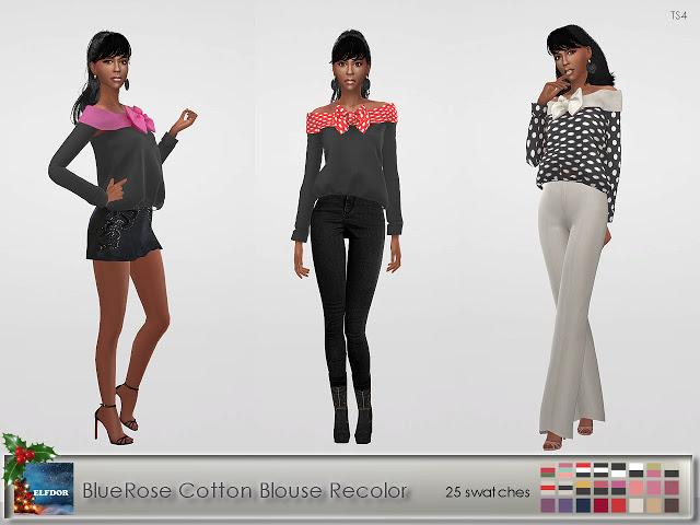 BlueRose Cotton Blouse Recolor at Elfdor Sims image 8212 Sims 4 Updates