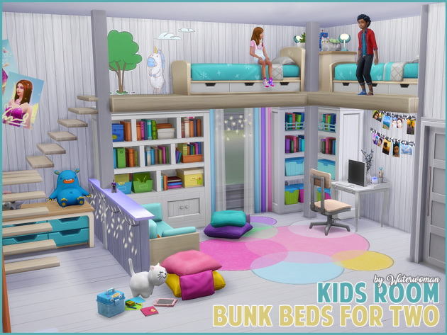 Kids room bunk beds for two at akisima sims 4 updates for Kinderzimmer play 01