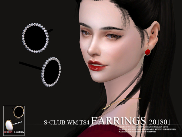 Sims 4 EARRINGS F 201801 by S Club WM at TSR
