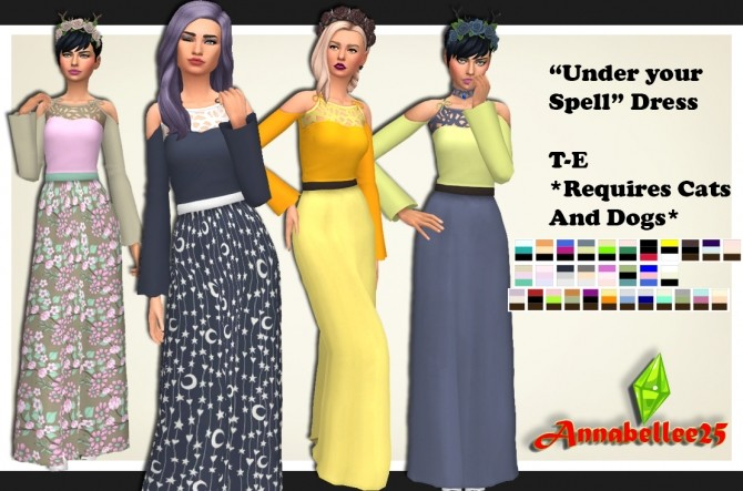 Sims 4 Under your Spell Dress by Annabellee25 at SimsWorkshop