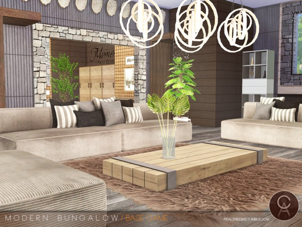 Sims 4 Modern Bungalow by Pralinesims at TSR