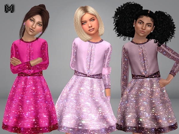 Sims 4 MP Girl Sparkly Dress by MartyP at TSR