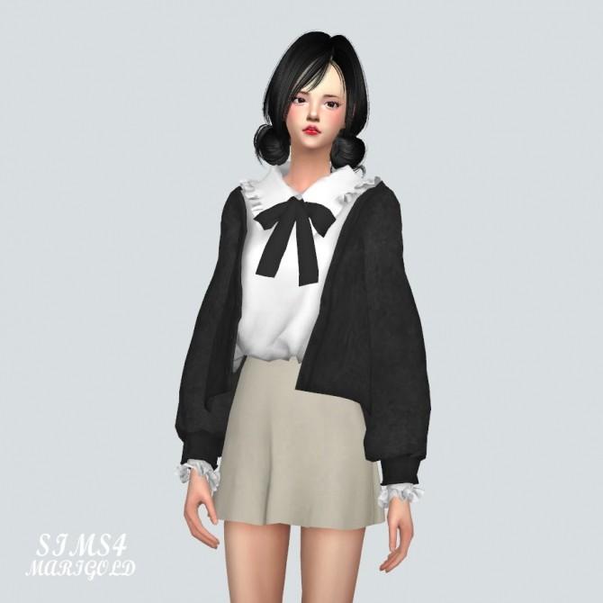 Sims 4 Bow Frill Shirt With Cardigan at Marigold