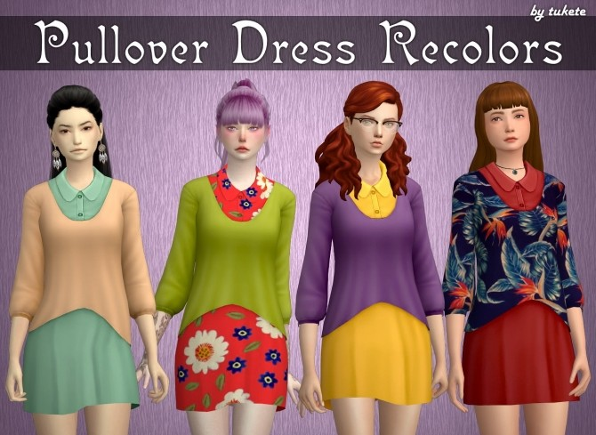 Sims 4 Pullover Dress Recolors at Tukete