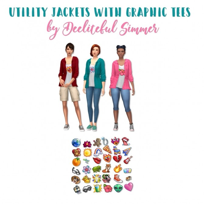Sims 4 Utility jacket with graphic tees at Deeliteful Simmer