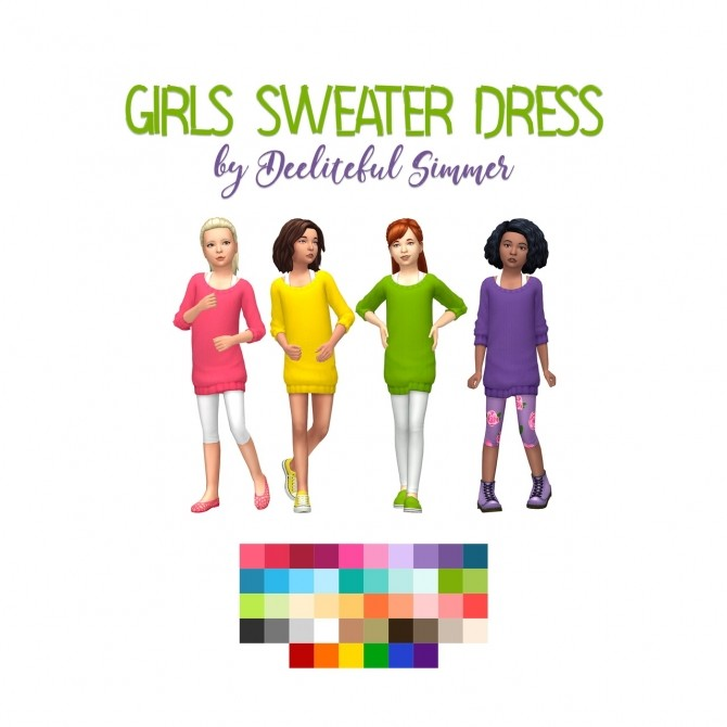 Sims 4 Girls sweater dress at Deeliteful Simmer